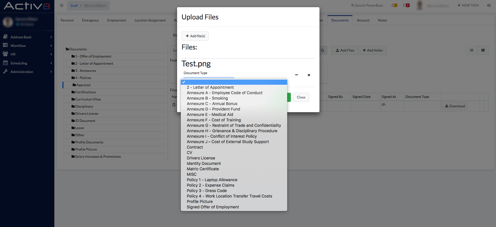 Upload Files and Document Type - Activ8